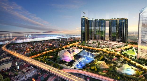 Sunshine City có địa điểm đắt giá khu vực ven sông Hồng, bên cạnh tháp tài chính Vietinbank 68 tầng.