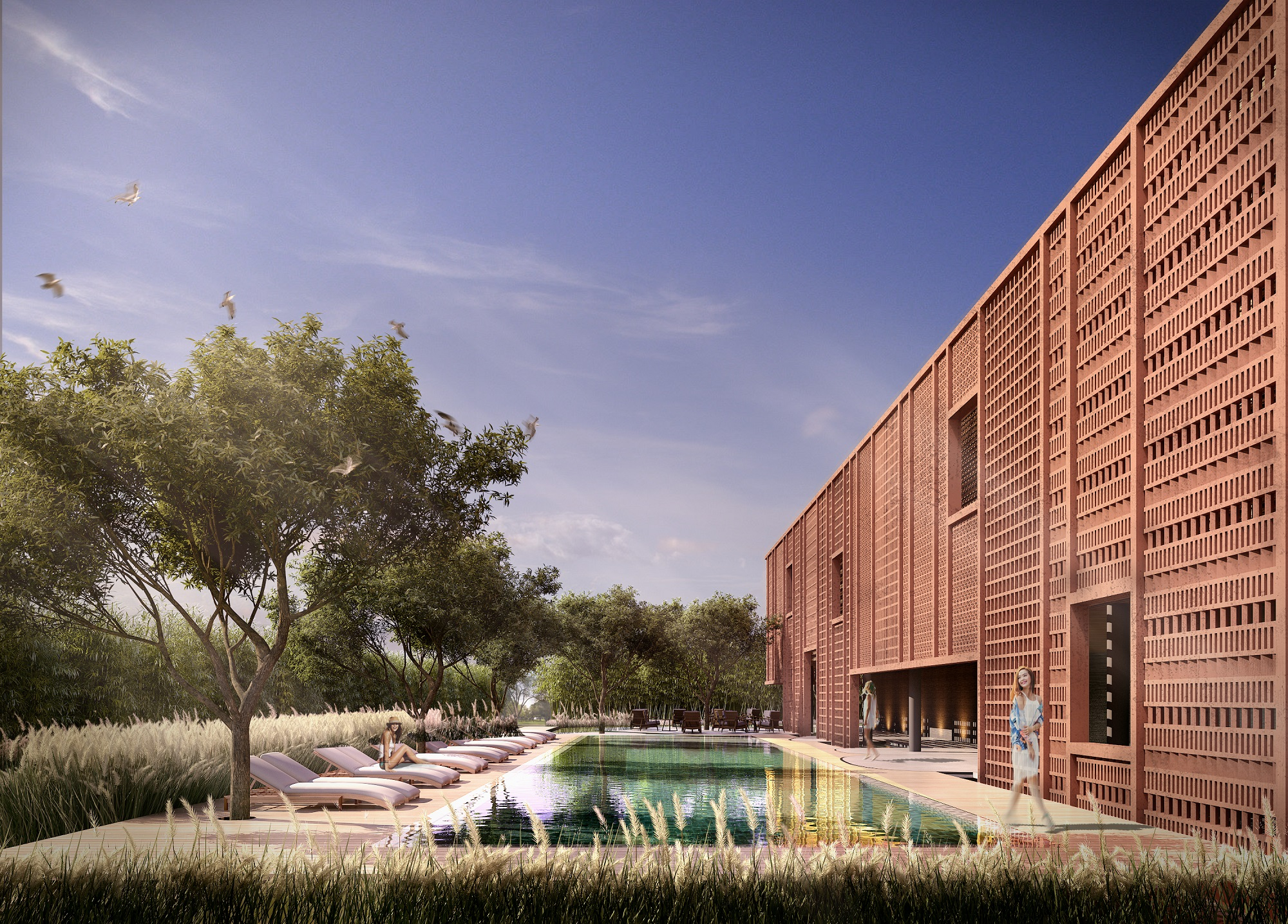 Khu Clubhouse tập trung nhiều tiện ích nghỉ dưỡng, vui chơi.
