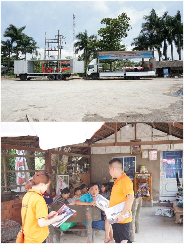 """Khách hàng ở Chợ Gạo tỉnh Tiền Giang được dịp """"mục sở thị"""" một vài dòng xe hãng Isuzu đẳng cấp."""