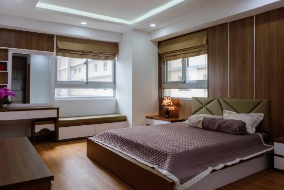 Một mẫu kiến trúc phòng ngủ ấn tượng nội khu căn hộ cao tầng.