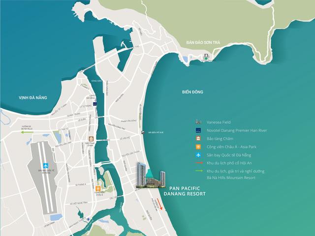 """Pan Pacific Danang Resort tọa lạc trên trục du lịch """"kim cương"""" Đà Nẵng – Hội An."""