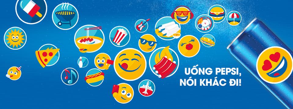 """Mẫu quảng cáo cho chiến dịch """"Uống Pepsi, nói khác đi"""" ở Việt Nam có một vài Pepsimoji đặc trưng như tô phở, phân phốih mì, gỏi cuốn… khiến cho giới trẻ thích thú."""