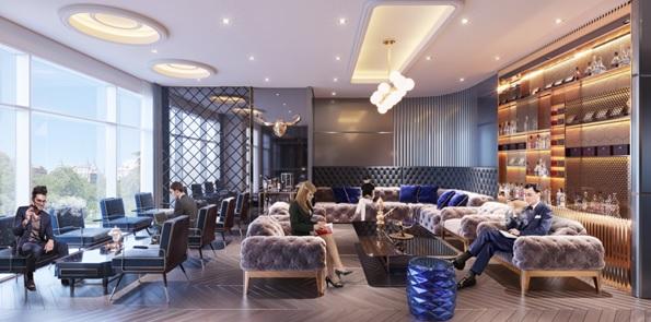 Cigar lounge cộng Wine bar sang trọng, cao cấp 5 sao quốc tế ngay trong sảnh tòa căn hộ chung cư.