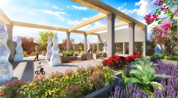 Vườn Hương đầy lãng mạn có 1 vài khóm hoa đầy màu sắc.