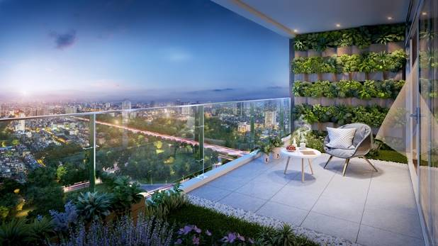 Tầm nhìn hướng đô thị thời thượng ở căn hộ chung cư Vinhomes Skylake.