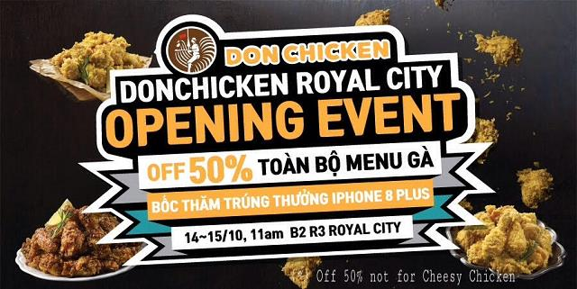 Giảm ngay50% menu gà và cơ hội nhận iPhone 8+ nhân dịp khai trươngDon Chicken Royal City - Ảnh 1.