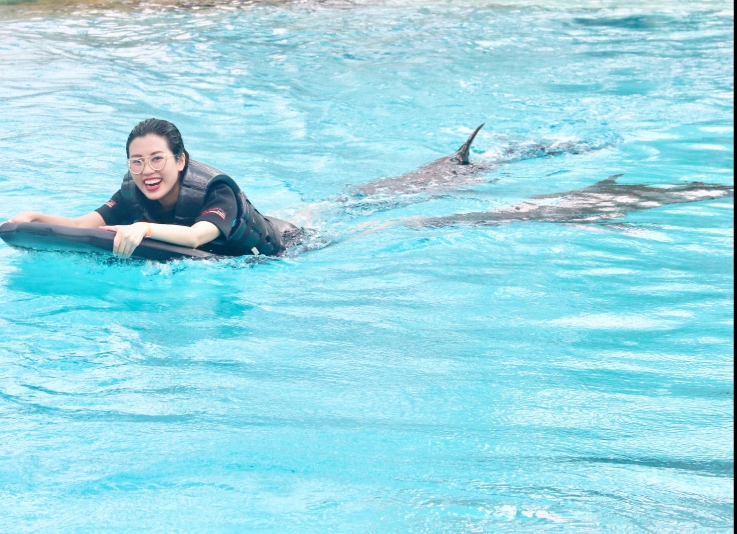 Hoa hậu Du lịch Emily Hồng Nhung đón sinh nhật đặc biệt cùng những chú cá heo tại Singapore - Ảnh 4.