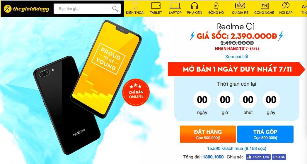 Vượt quá 11.000 máy bán ra, Realme C1 đang làm nóng tháng 11 - Ảnh 1.