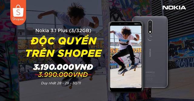 Độc quyền trên Shopee, chỉ còn 2 ngày để săn Nokia 3.1 Plus với giá cực tốt! - Ảnh 1.