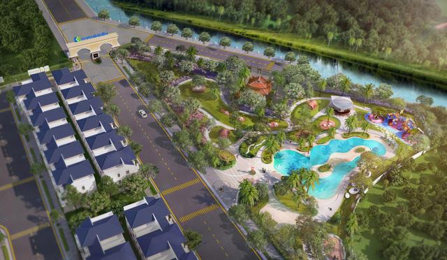 Verosa Park: Hồ cảnh quan Oceania với mặt nước tự nhiên phản chiếu cây xanh và mây trời lần đầu tiên có ở dự án Khang Điền