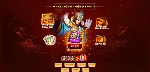 """Danh Tướng 3Q – VNG tặng thẻ Zing 200K và nhận quà """"mỏi tay"""" cùng sự kiện chiêu mộ tướng - Ảnh 1."""