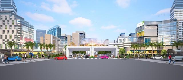 Phối cảnh cổng vào khu đô thị Mega City 2 nằm trên mặt tiền đường 25C