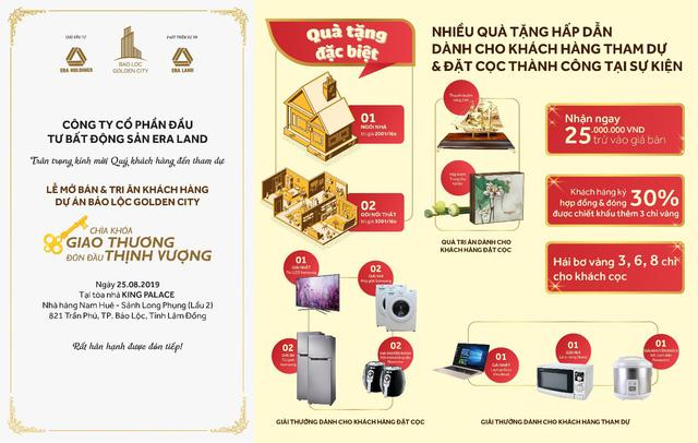 Ưu đãi 15% cho nhà đầu tư tại sự kiện mở bán Bảo Lộc Golden City - Ảnh 1.