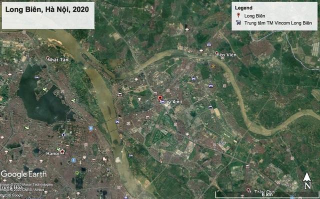 Ảnh chụp bản đồ vệ tinh của quận Long Biên năm 2020 (qua ứng dụng Google Earth).