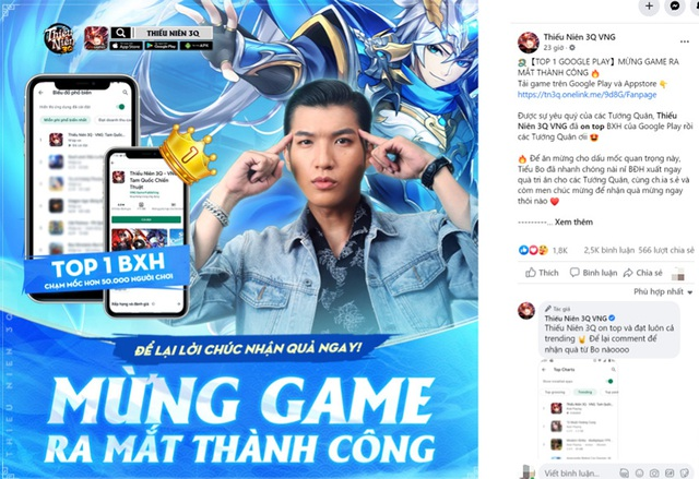 """Game thủ Việt đồng loạt gửi lời chúc mừng khi Thiếu Niên 3Q """"on Top"""" thịnh hành - Ảnh 1."""