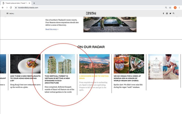 Tạp chí danh tiếng của Mỹ dành vị trí nổi bật trang chủ viết về toà tháp xanh biểu tượng của Ecopark - Ảnh 1.