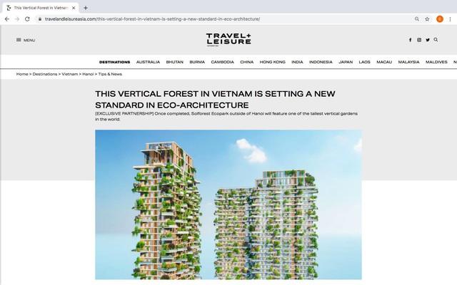 Tạp chí danh tiếng của Mỹ dành vị trí nổi bật trang chủ viết về toà tháp xanh biểu tượng của Ecopark - Ảnh 2.