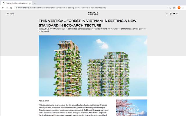 Hàng loạt báo quốc tế viết về tòa tháp xanh Ecopark - Ảnh 1.