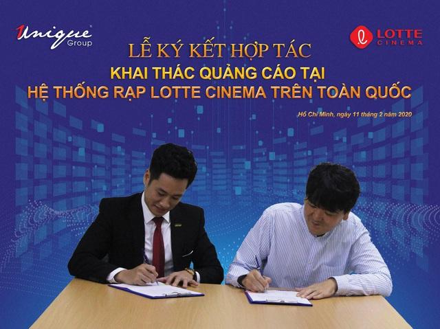 Unique và Lotte Cinema ký kết hợp tác trong lĩnh vực quảng cáo - Ảnh 1.