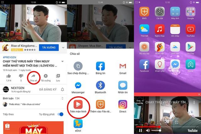 """Chế độ Trên màn hình cực kỳ hữu dụng: Người dùng Bphone giờ đây có thể xem bất cứ video trên YouTube nào ở bất cứ nơi đâu. Chỉ cần chọn """"Chia sẻ"""" trong video rồi chọn tính năng Trên màn hình. Video sẽ xuất hiện dưới dạng pop up và người dùng có thể vừa lướt web vừa xem YouTube."""