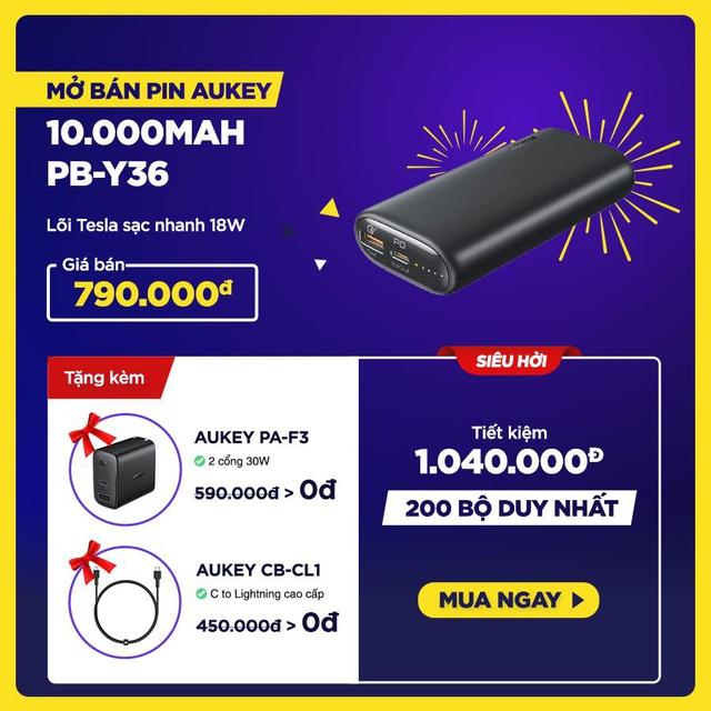Aukey mở bán combo sạc nhanh 18W cao cấp dành riêng cho iPhone với giá siêu hời, tiết kiệm hơn 1.000.000đ - Ảnh 2.