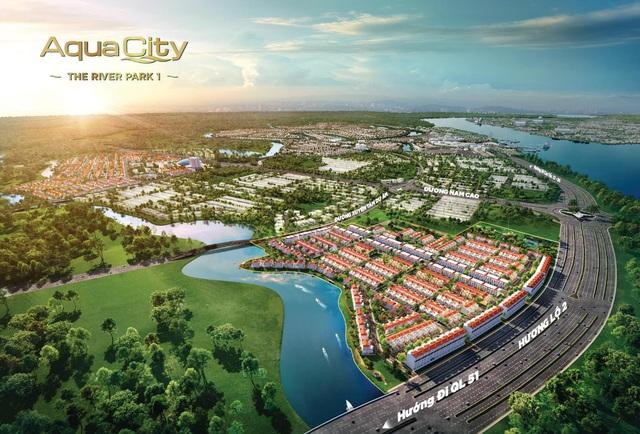 River Park 1 ghi điểm với khách hàng nhờ vị trí cửa ngõ đắc địa của đô thị Aqua City và giá trị sống sinh thái, tiện nghi hiện đại.