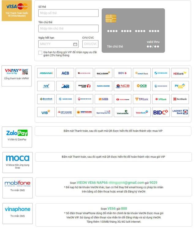 Người dùng vẫn có thể tiếp tục gia hạn VieON bằng nhiều phương thức thanh toán khác khi Ví MoMo ngừng liên kết - Ảnh 3.