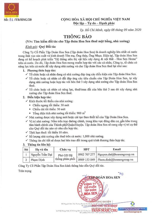 Tập đoàn Hoa Sen tìm kiếm đối tác cho thuê mặt bằng, nhà xưởng triển khai Hoa Sen Home - Ảnh 1.