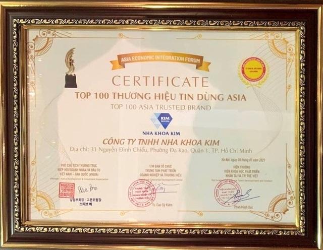 Nha Khoa Kim đạt top 100 thương hiệu tin dùng Asia - Ảnh 1.