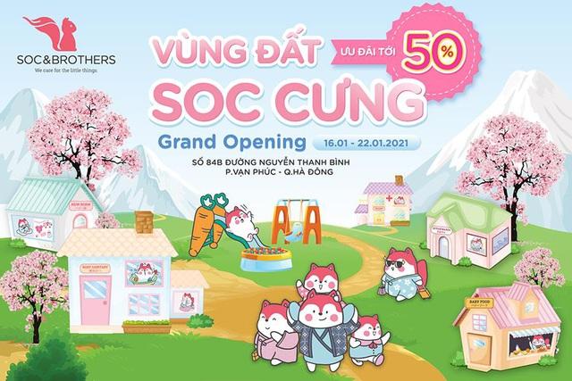 Soc&Brothers khai trương cửa hàng mới ở Hà Đông: Các mẹ khỏi lo shopping xa, kèm ưu đãi bao la đồ cho bé chỉ từ 19k - Ảnh 1.