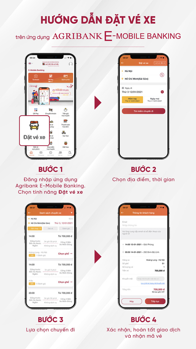 Đặt vé xe khách trực tuyến trên ứng dụng Agribank E-Mobile Banking - Ảnh 1.