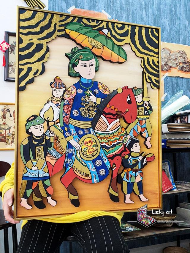 Độc đáo bộ tranh gỗ cầu tài lộc âm hưởng văn hoá dân gian - Ảnh 3.