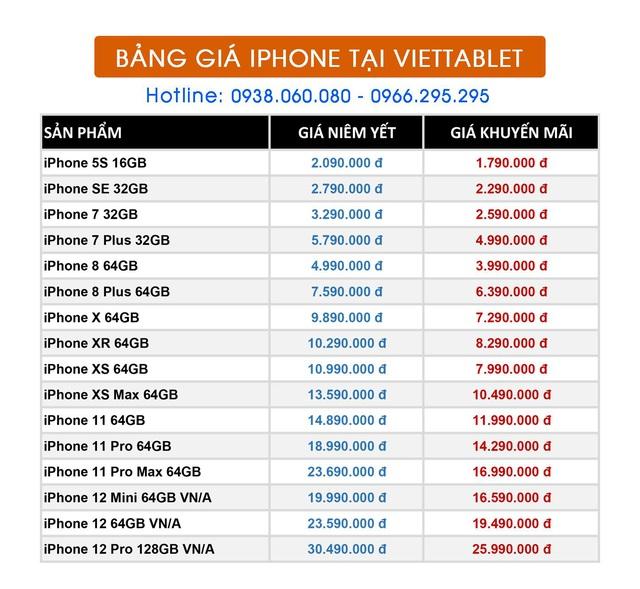 Cập nhật bảng giá Viettablet tháng 5_ iPhone XR, 11 Pro Max, 12 Pro Max giảm giá mạnh - Ảnh 2.