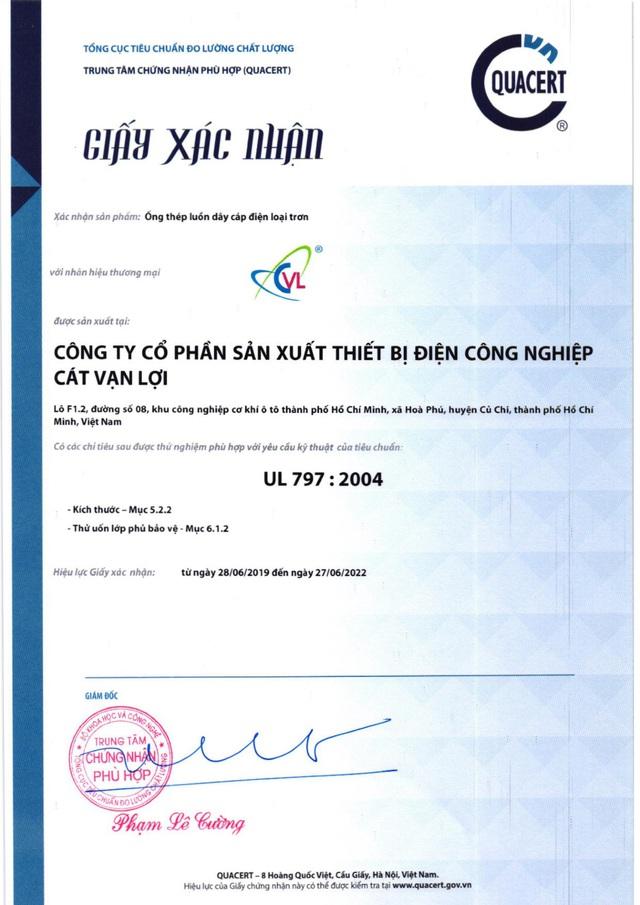 Ống thép luồn dây điện EMT của Cát Vạn Lợi đạt chứng nhận hợp chuẩn UL 797 - Ảnh 1.