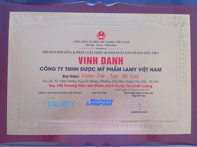 Doanh nhân Lan Ngô- CEO Dr.Lamy nhận cup danh hiệu top 100 Thương hiệu sản phẩm uy tín chất lượng - Ảnh 2.