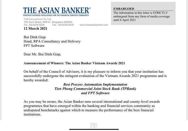 akaBot giành giải tự động hóa quy trình tốt nhất tại The Asian Banker 2021 - Ảnh 1.