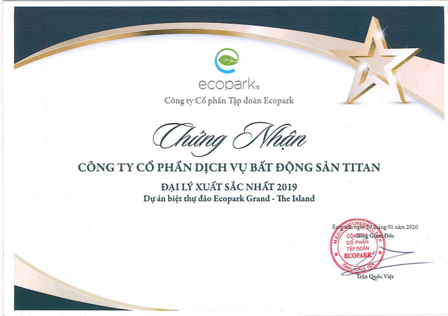 Những giải thưởng danh giá của Titan Luxury tại Ecopark - Ảnh 1.