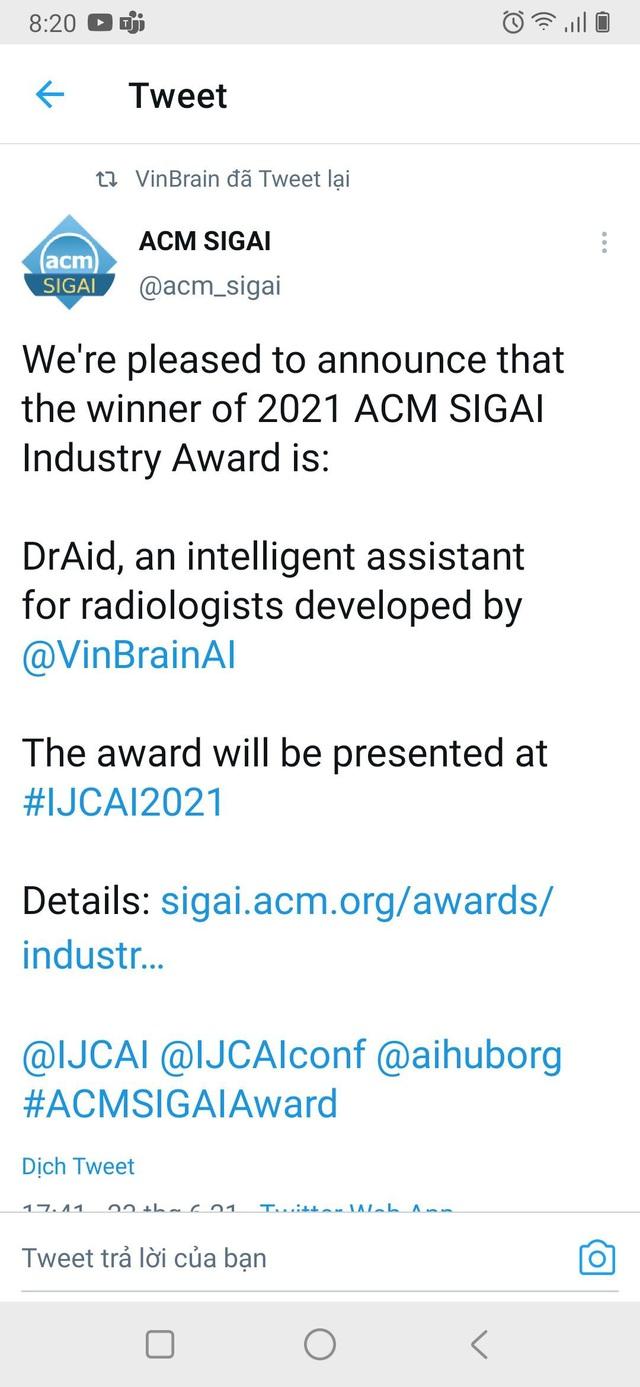 """VinBrain giành giải thưởng quốc tế """"Công nghiệp ACM SIGAI 2021 cho sản phẩm trí tuệ nhân tạo xuất sắc nhất"""" - Ảnh 1."""