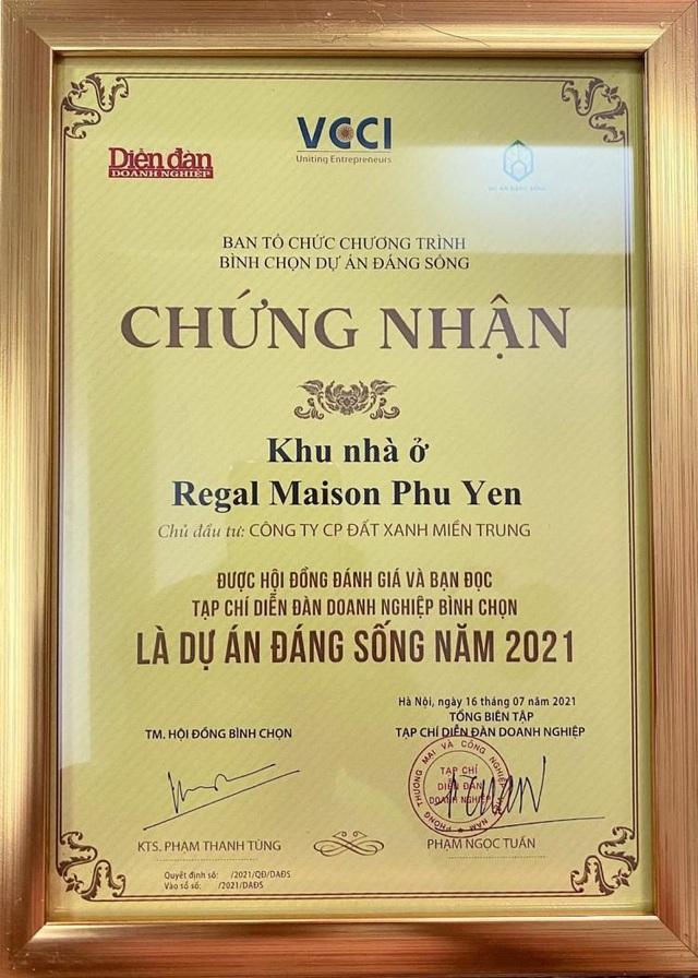 """""""Dự án đáng sống 2021"""" ghi danh Regal Maison Phu Yen của Đất Xanh Miền Trung - Ảnh 1."""