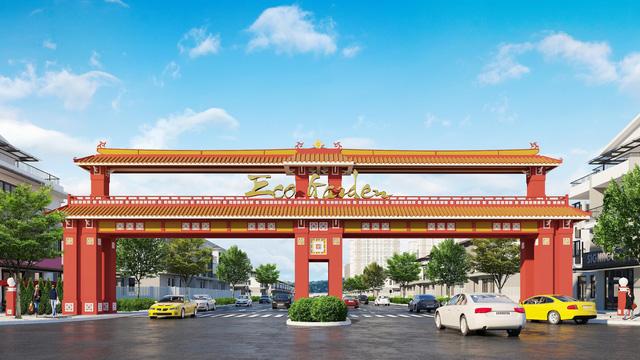 Cổng chào của KĐT Eco Garden được mô phỏng Cổng trường Quốc học Huế