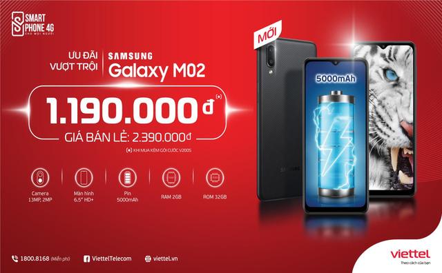 Samsung Galaxy M02 ưu đãi khủng tới 50% cho khách hàng Viettel - Ảnh 1.