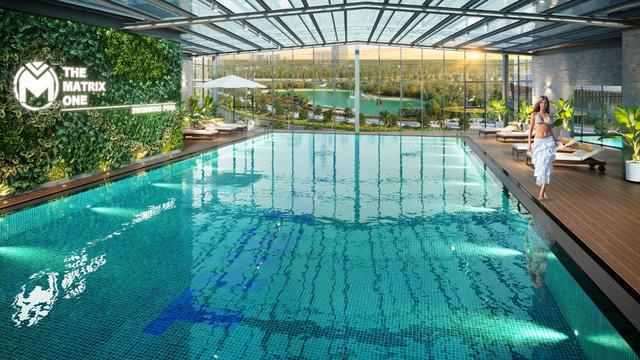 Bể bơi giữa tầng không nối giữa 2 tòa tháp view trực diện công viên 14ha