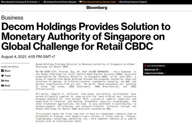 Truyền thông quốc tế chú ý tới giải pháp CBDC ngành bán lẻ của nhóm chuyên gia Việt X-Vision - Ảnh 2.