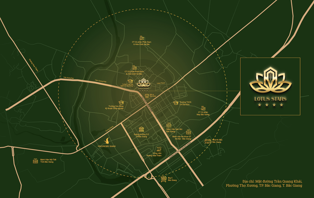 Dự án Lotus Star nằm ở vị trí đẹp tại lõi quy hoạch thành phố và ngay tại chân cầu vượt Trần Quang Khải