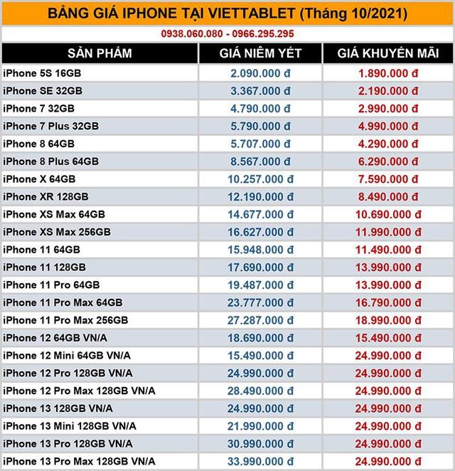 Bảng giá iPhone 11, 12, 13 Pro Max, iPad Gen 9, Mini 6 tốt nhất tháng 10 tại Viettablet - Ảnh 2.