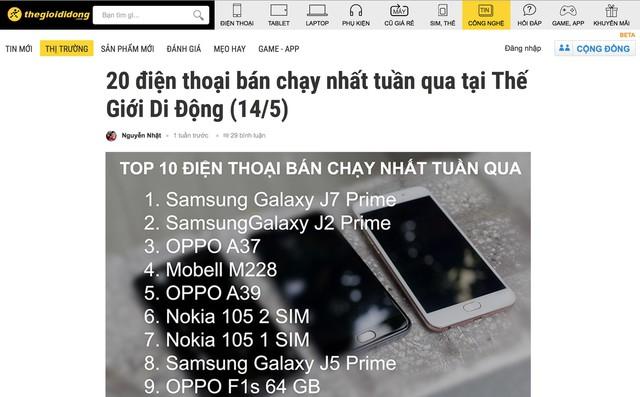 BXH bán chạy mới nhất của Thegioididong tiếp tục gọi tên Galaxy J7 Prime.