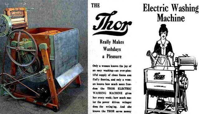 Chiếc máy giặt chạy điện đầu tiên có tên là Thor được giới thiệu năm 1908