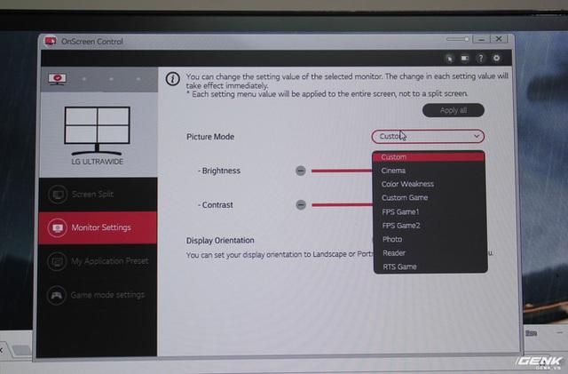 Điều khiển lựa chọn các tính nắng trên phần mềm OnScreen Control