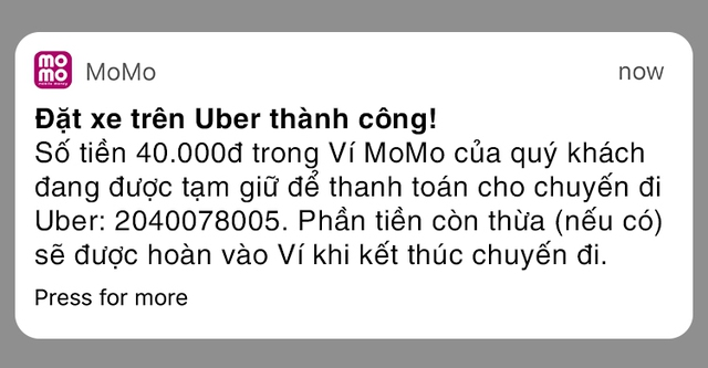 Cước Uber được tự động trừ vào tài khoản ví MoMo ngay sau chuyến đi kết thúc