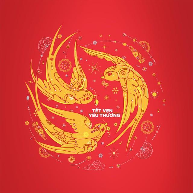 Hình ảnh én Xuân trong mẫu lon Tết vẹn yêu thương, nét vẽ tay được lên bởi Luongdoo